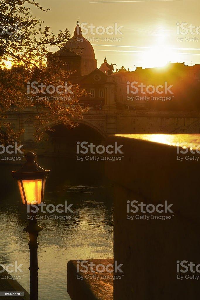 Rome, Sant'Angelo bridge on sunset. royalty-free stock photo