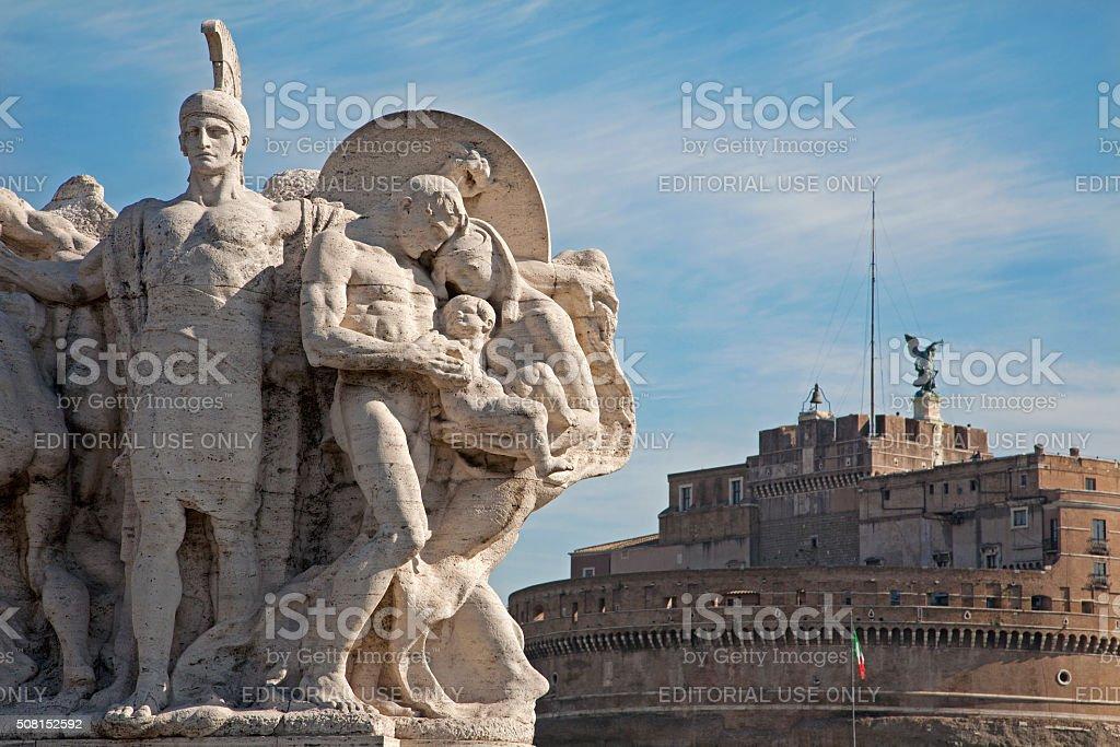 Rome - Sculpture from Vittorio Emanuele bridge stock photo