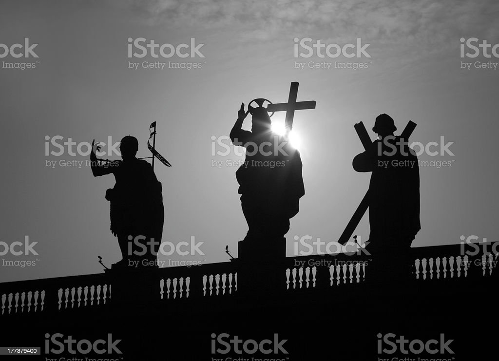 Rome - silhouette of Jesus with the cross royalty-free stock photo