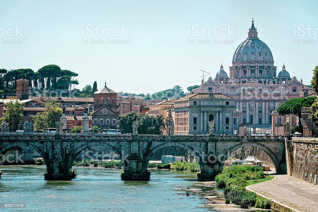 Rome skyline and Ponte Sant Angelo stock photo