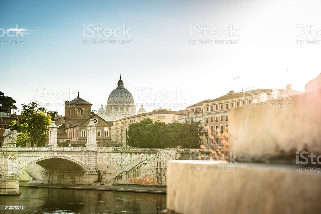Rome skyline at dusk - italy stock photo