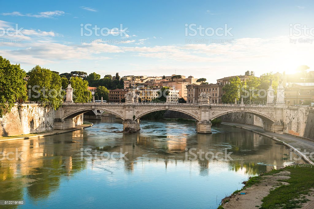 Rome skyline at dusk - italy stock photo