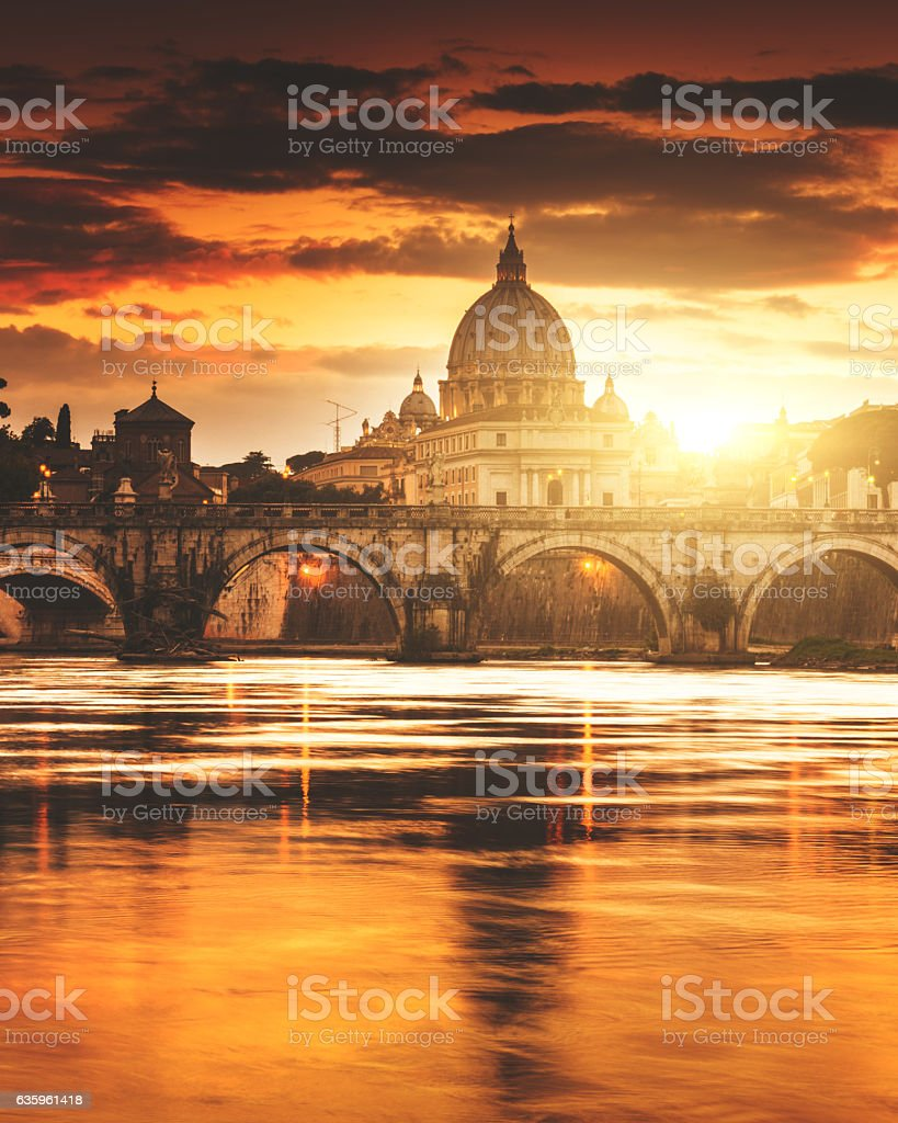 Rome skyline at dusk stock photo