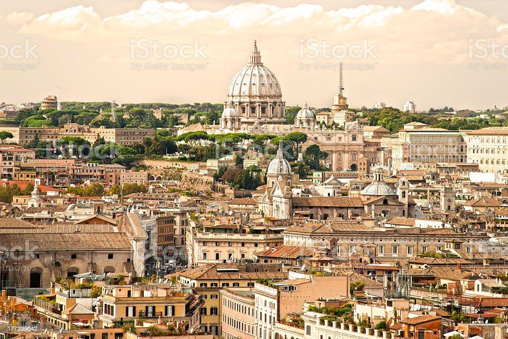 Rome skyline at sunset from Vittoriano, Italy.