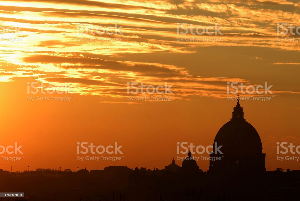 Rome skyline at sunset royalty-free stock photo