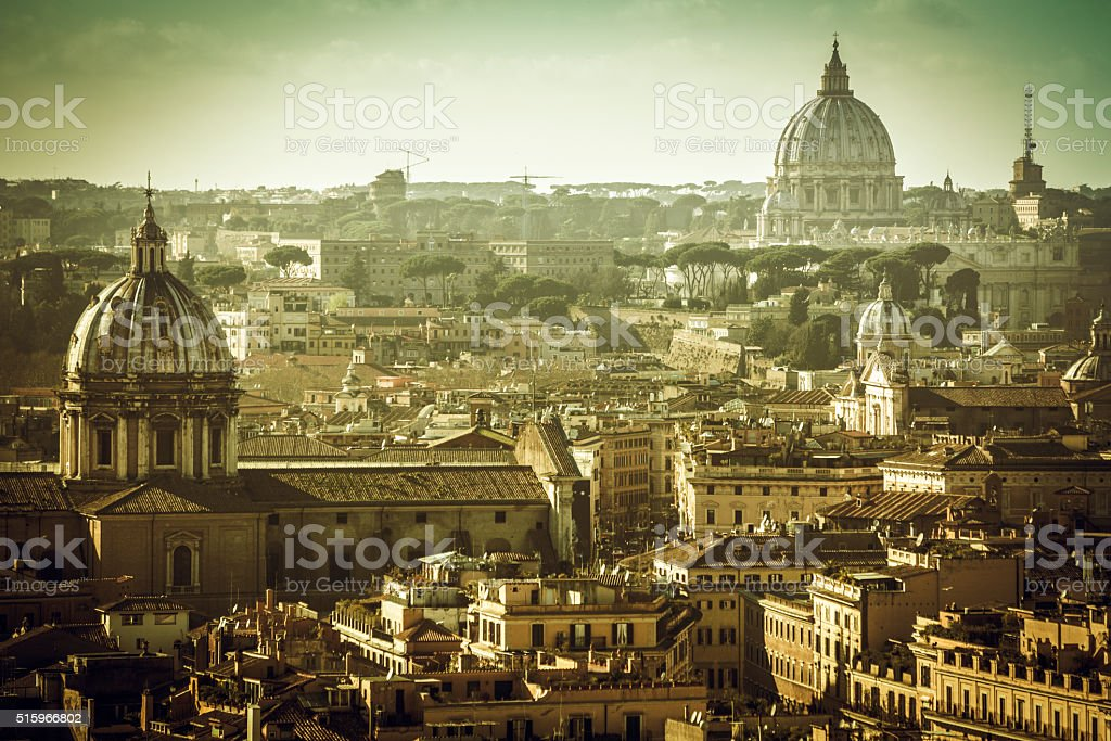 Rome skyline: domes and roofs stock photo