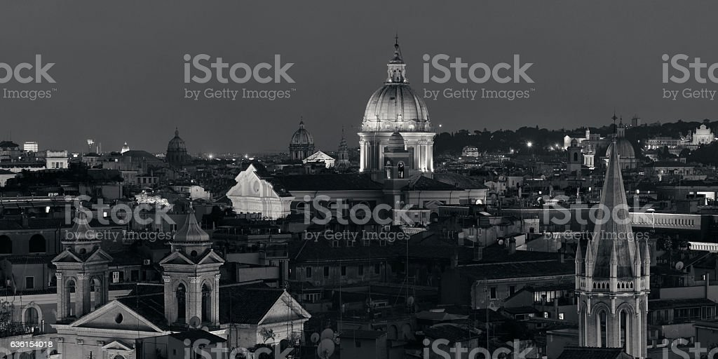 Rome rooftop view with skyline and ancient architecture in Italy at...
