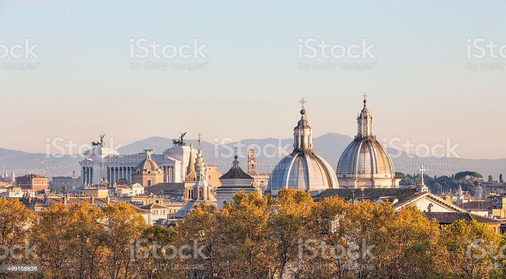 Rome skyline with church cupolas in the autumn, Italy stock photo