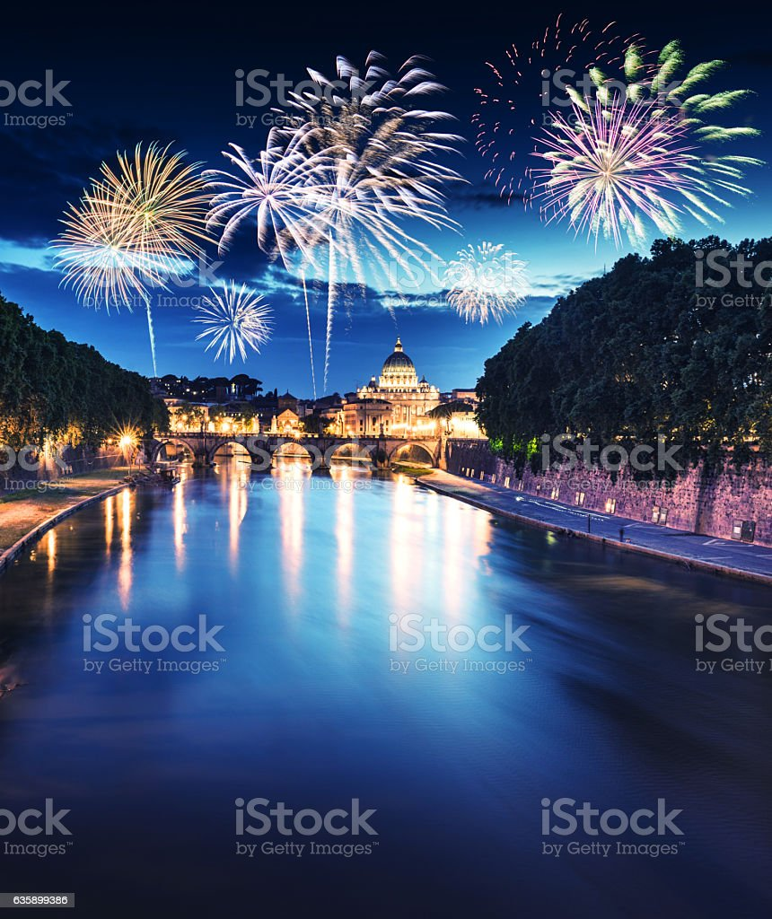 Rome skyline with fireworks on the background for new year stock photo
