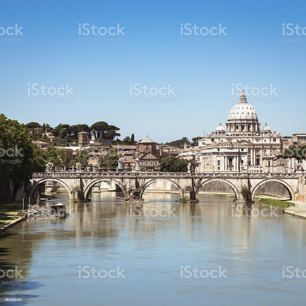 Rome skyline with tiber river royalty-free stock photo