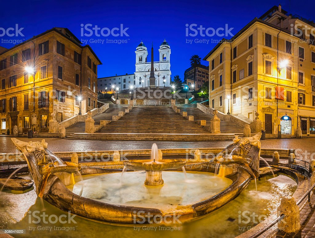 Rome Spanish Steps Piazza di Spagna fountains illuminated dawn Italy stock photo