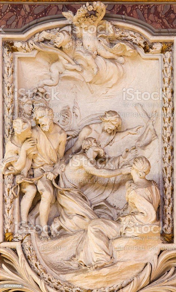 Rome - St. Andrew the Apostle - relief stock photo