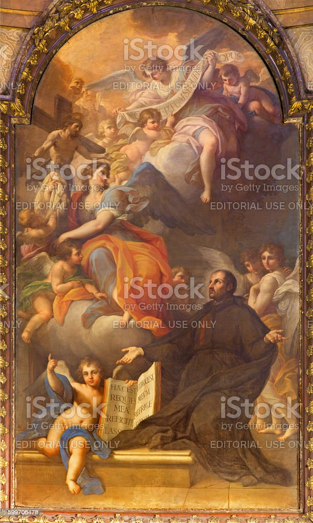Rome - St. Camillus vision of the Madonna and Christ stock photo