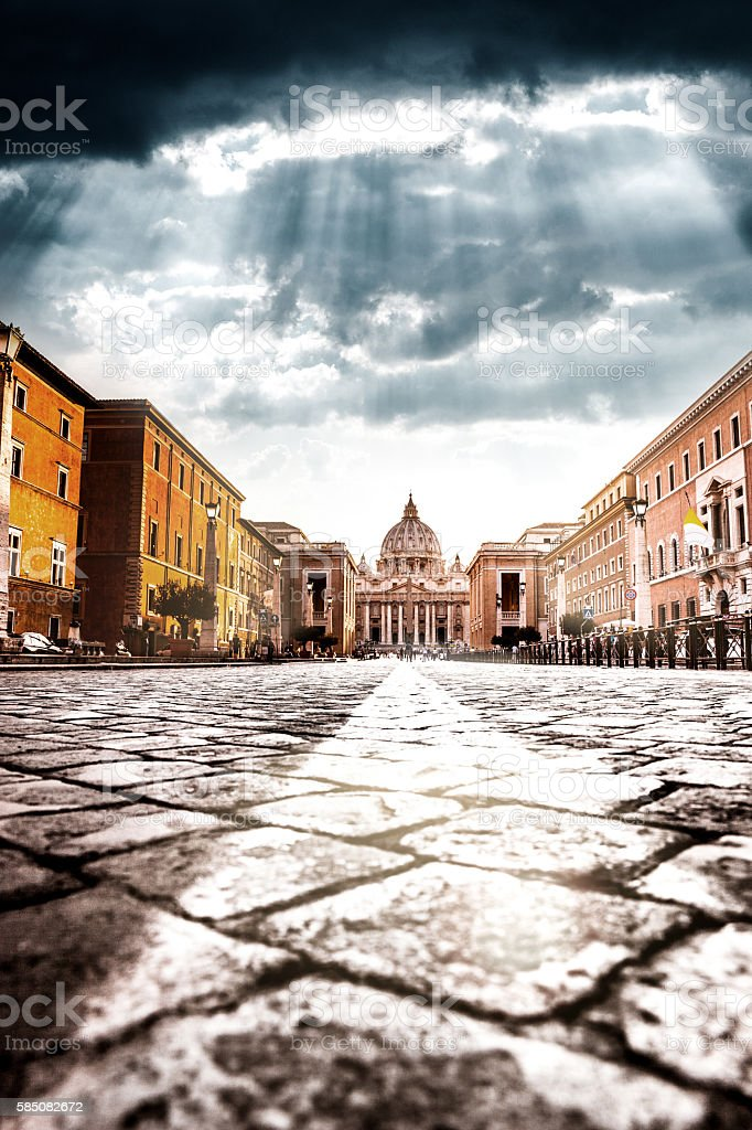 Rome, St. Peter's Basilica - Vatican City view at dusk stock photo