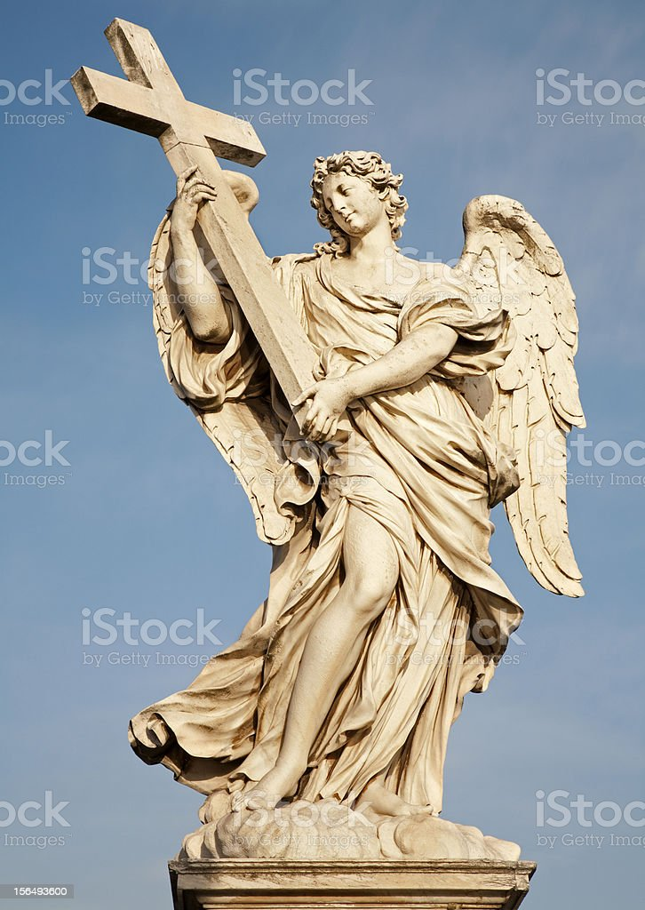 Rome - Statue of  angel with the Cross stock photo