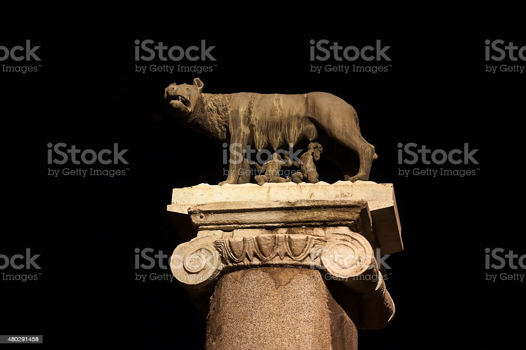 Rome Statue traditional founders at night illumination stock photo