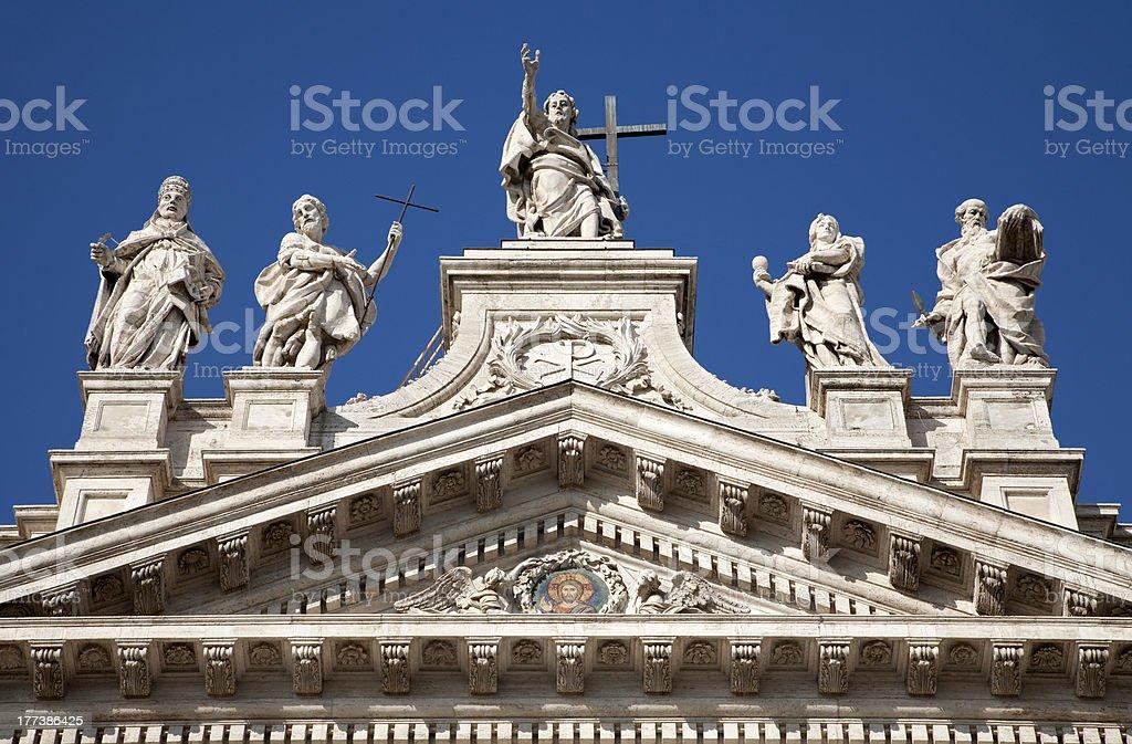 Rome - summit of Lateran basilica stock photo