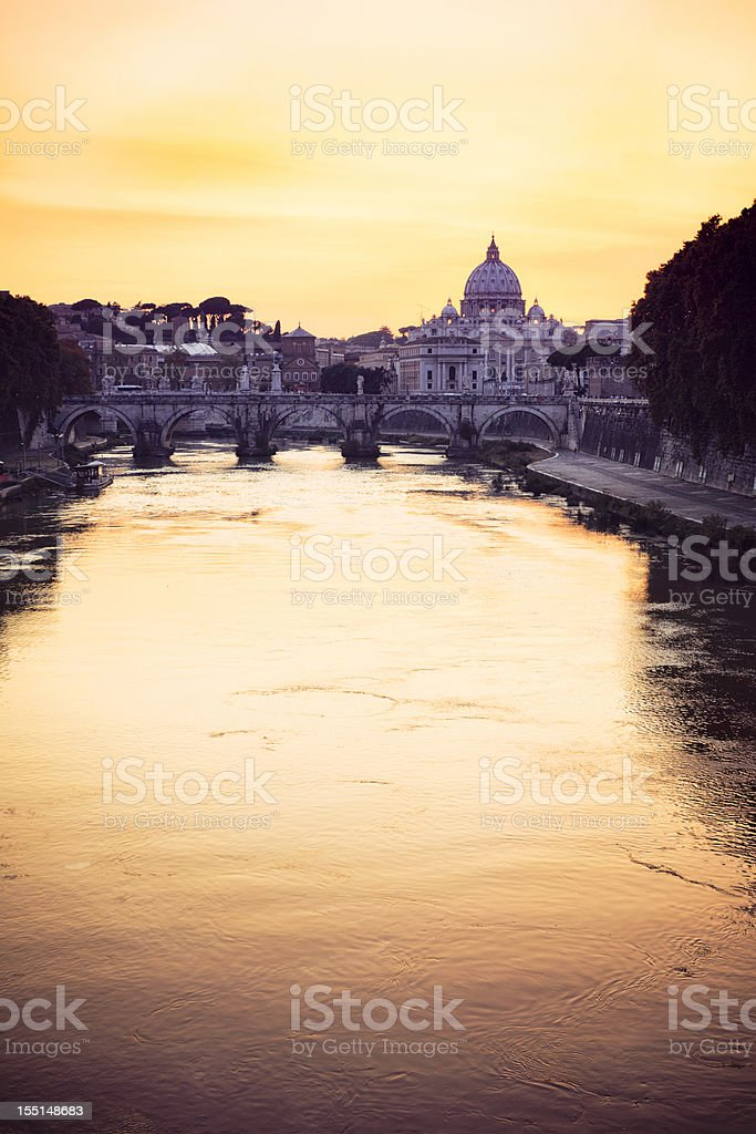 Rome: Sunset over the Tiber stock photo