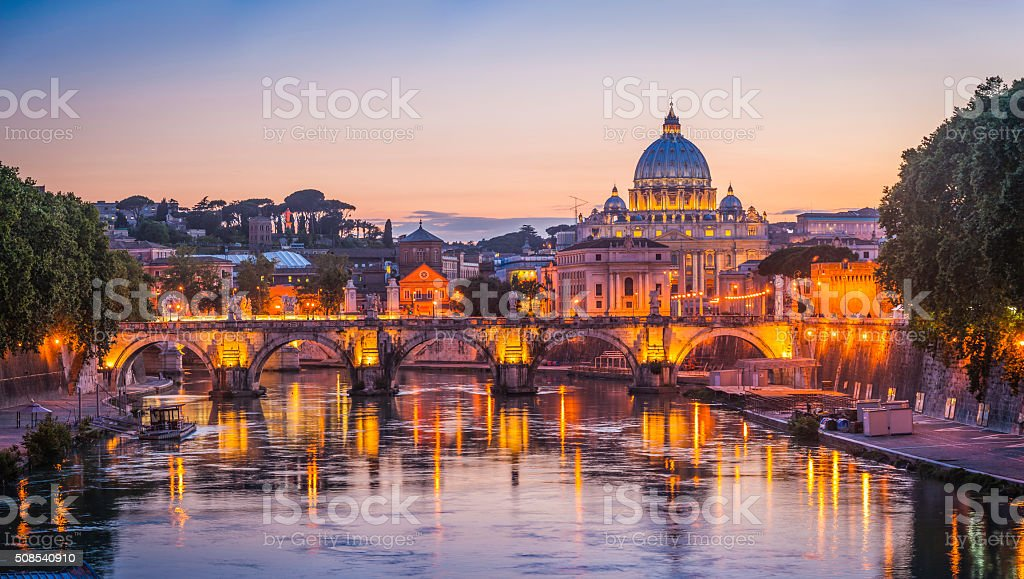 Rome sunset over Tiber and St Peters Basilica Vatican Italy stock photo