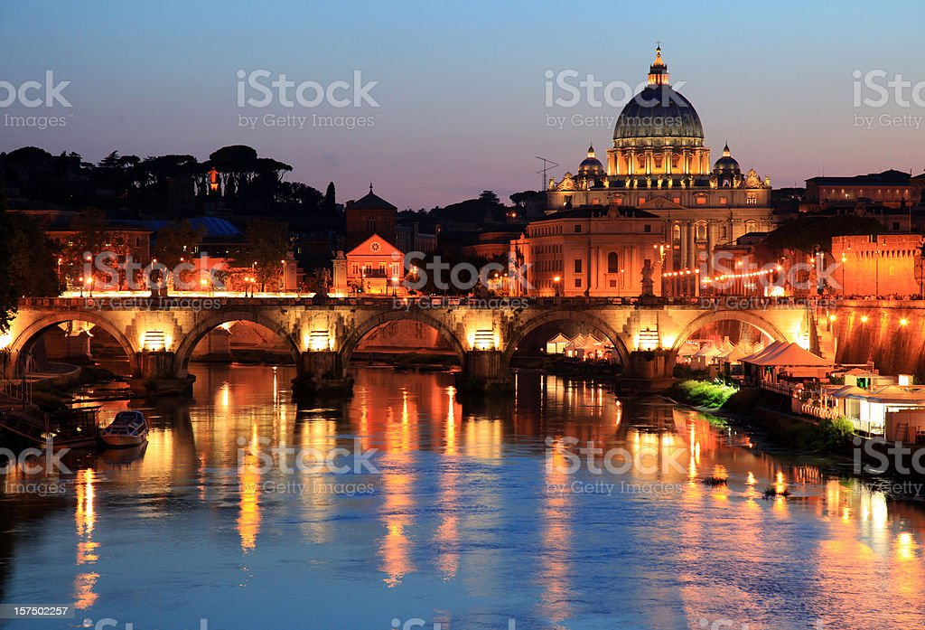 Rome Sunset: St. Peter's Basilica in reflection royalty-free stock photo