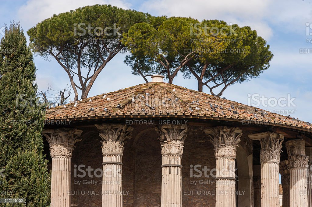 Rome. Temple of Hercules Victor with pigeons and seagulls stock photo