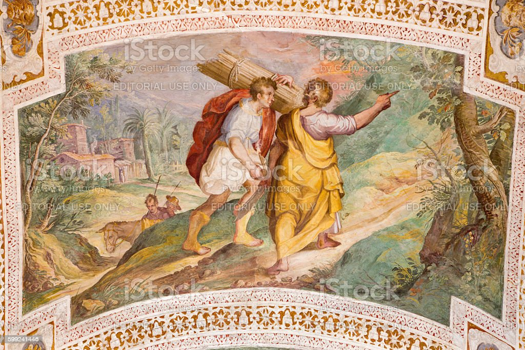 Rome - The Abraham and Isaac Going to the Sacrifice stock photo