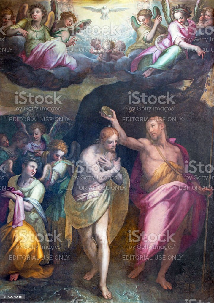 Rome - The Baptism of Christ painting by Naldini stock photo