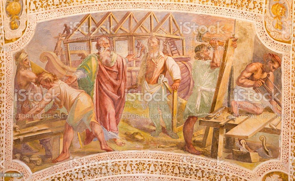 Rome - The Construction of Noah's Ark fresco stock photo