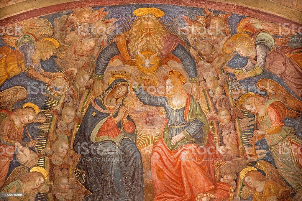 Rome - The Coronation of Virgin Mary fresco stock photo