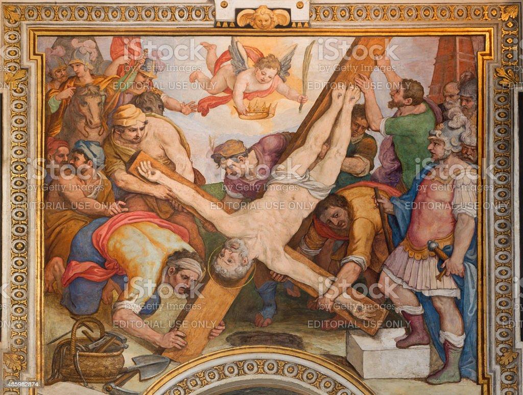 Rome - The Crucifixion of st. Peter fresco stock photo