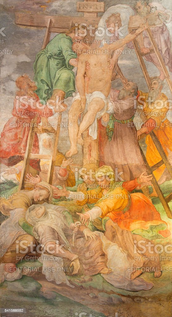 Rome - The Deposition of the corss fresco stock photo