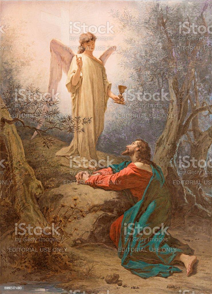 Rome - The fresco Christ in the Garden of Gethsemane stock photo