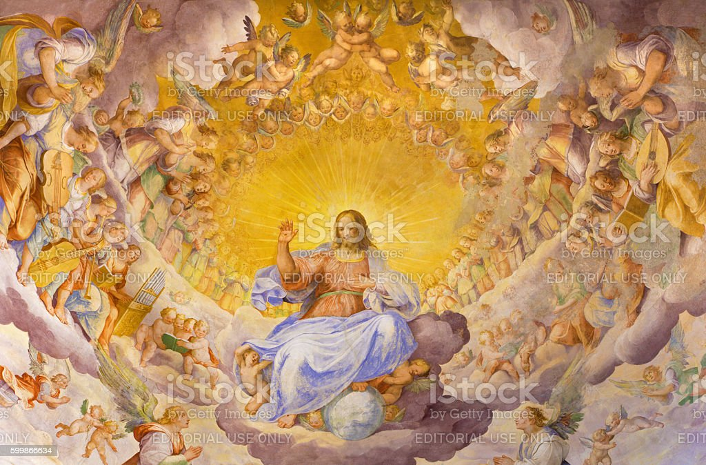 Rome - The fresco of Christ the Redeemer in Glory stock photo