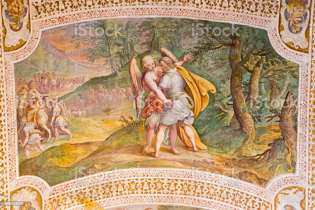 Rome - The fresco of Jacob Wrestles with an Angel stock photo