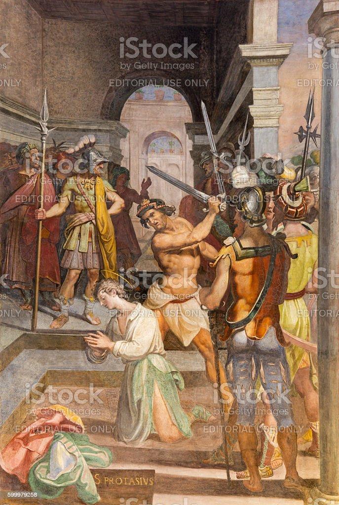 Rome - The fresco of Martyrdom of St. Protasius stock photo