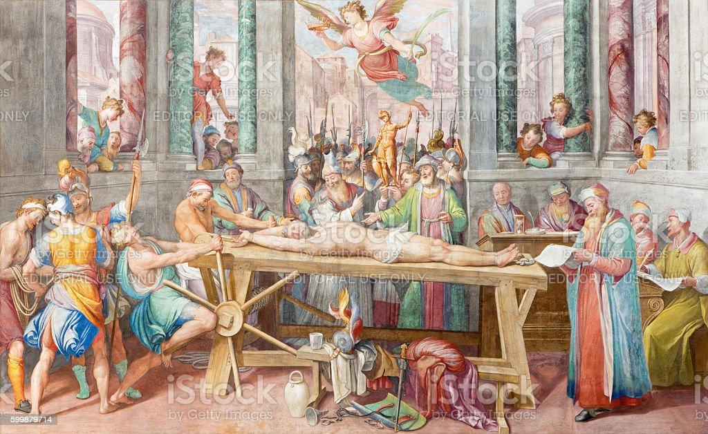 Rome - The fresco of Martyrdom of St. Vitale stock photo
