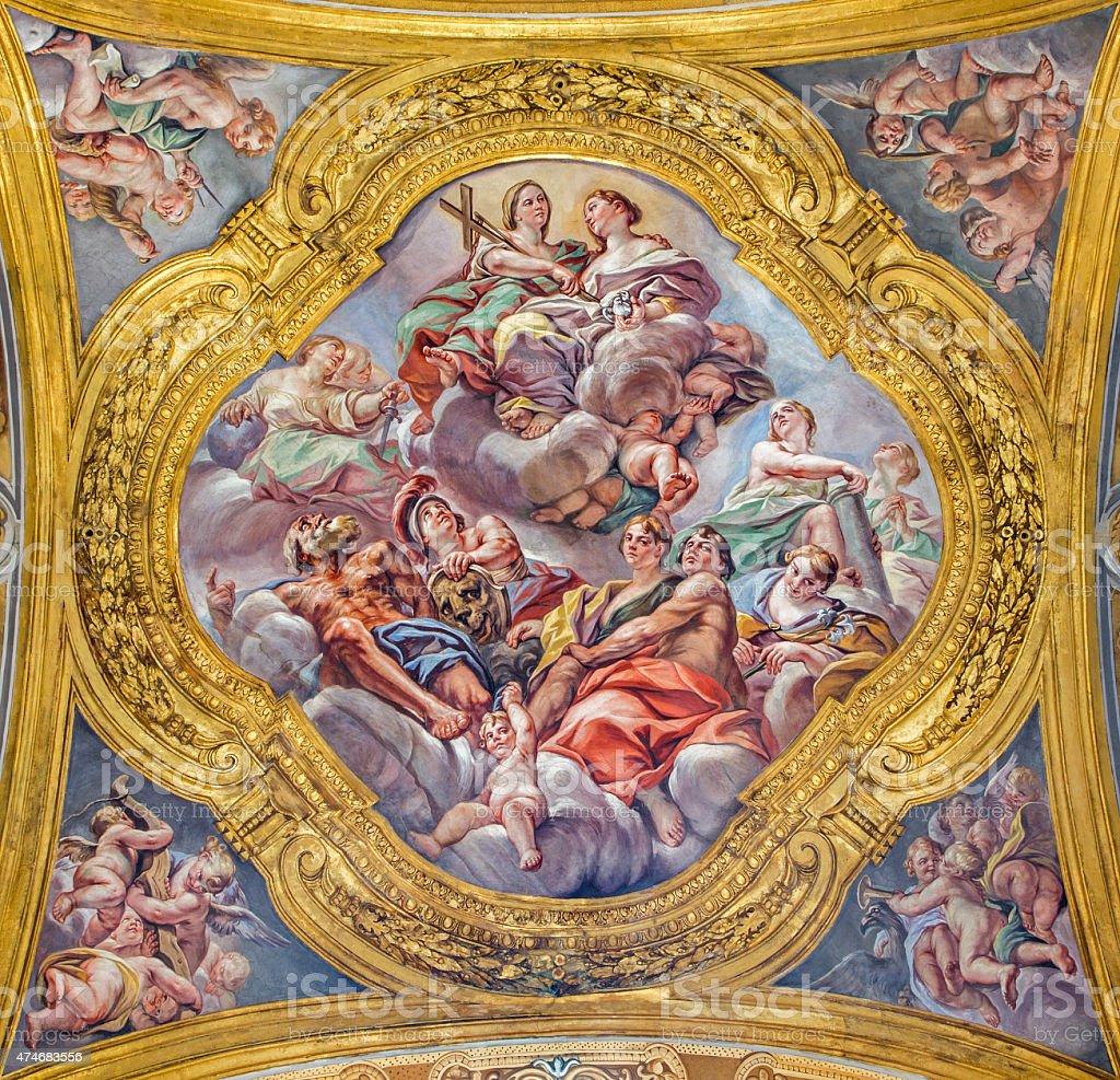 Rome -  The fresco of Saints in Glory stock photo