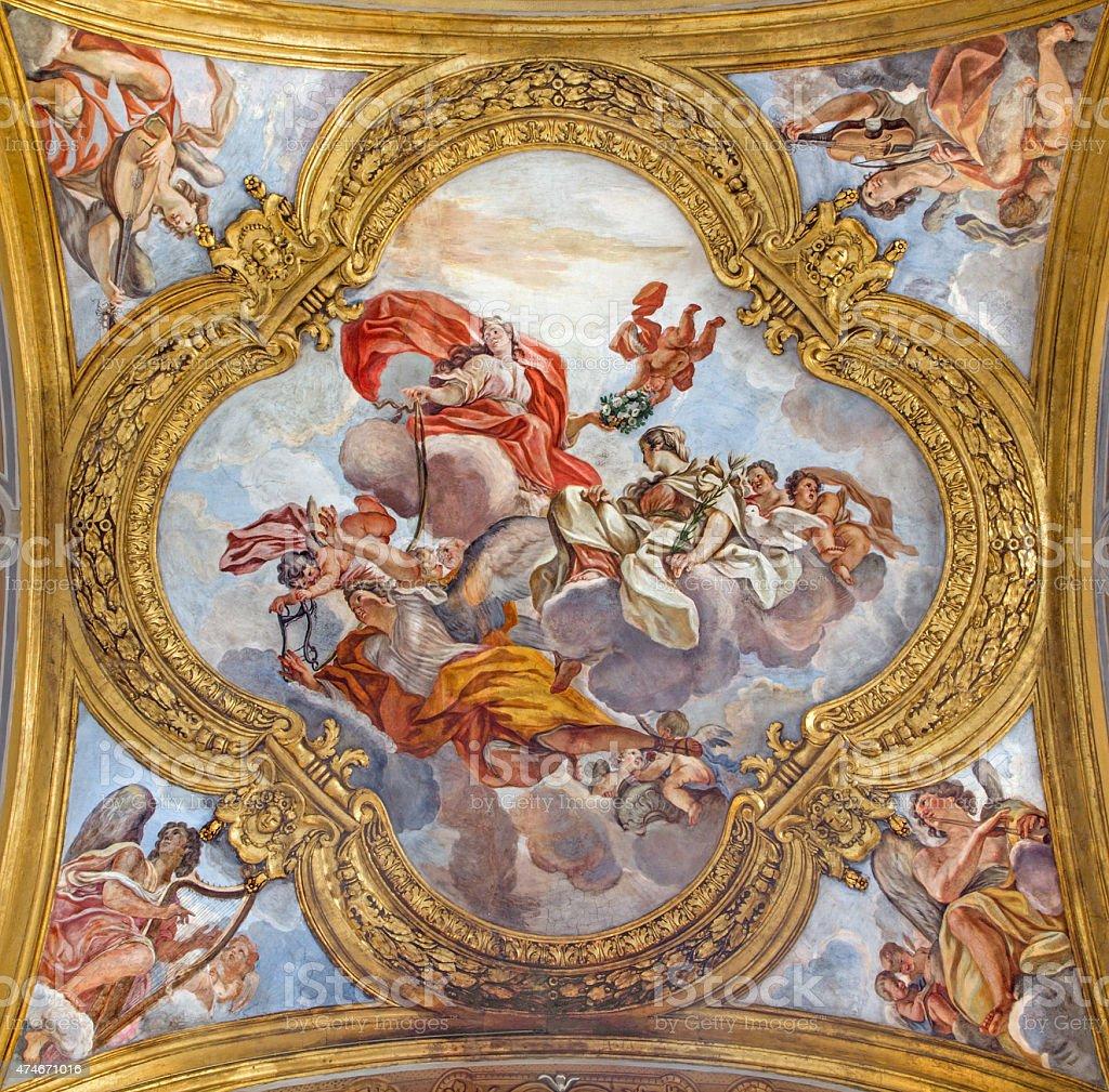 Rome -  The fresco of virtues in San Carlo church stock photo