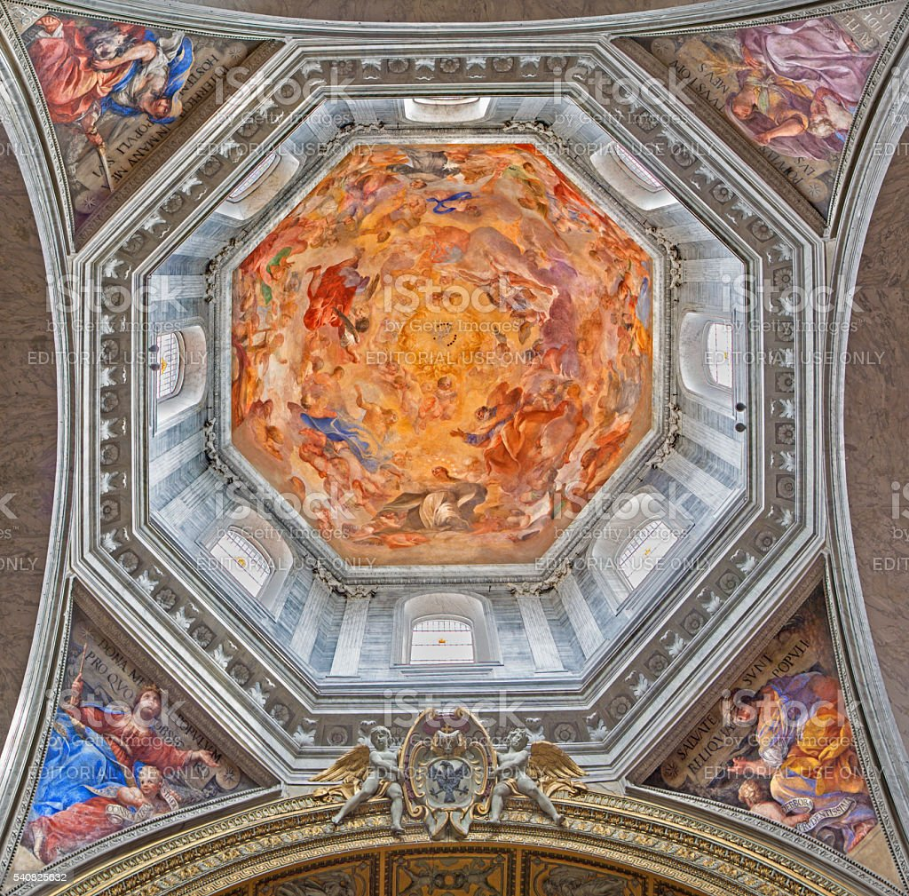 Rome - The fresco Our Lady in Glory stock photo