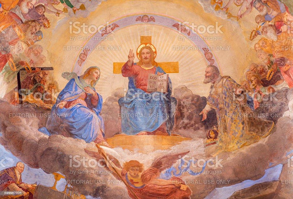Rome - The fresco The Christ in Glory stock photo