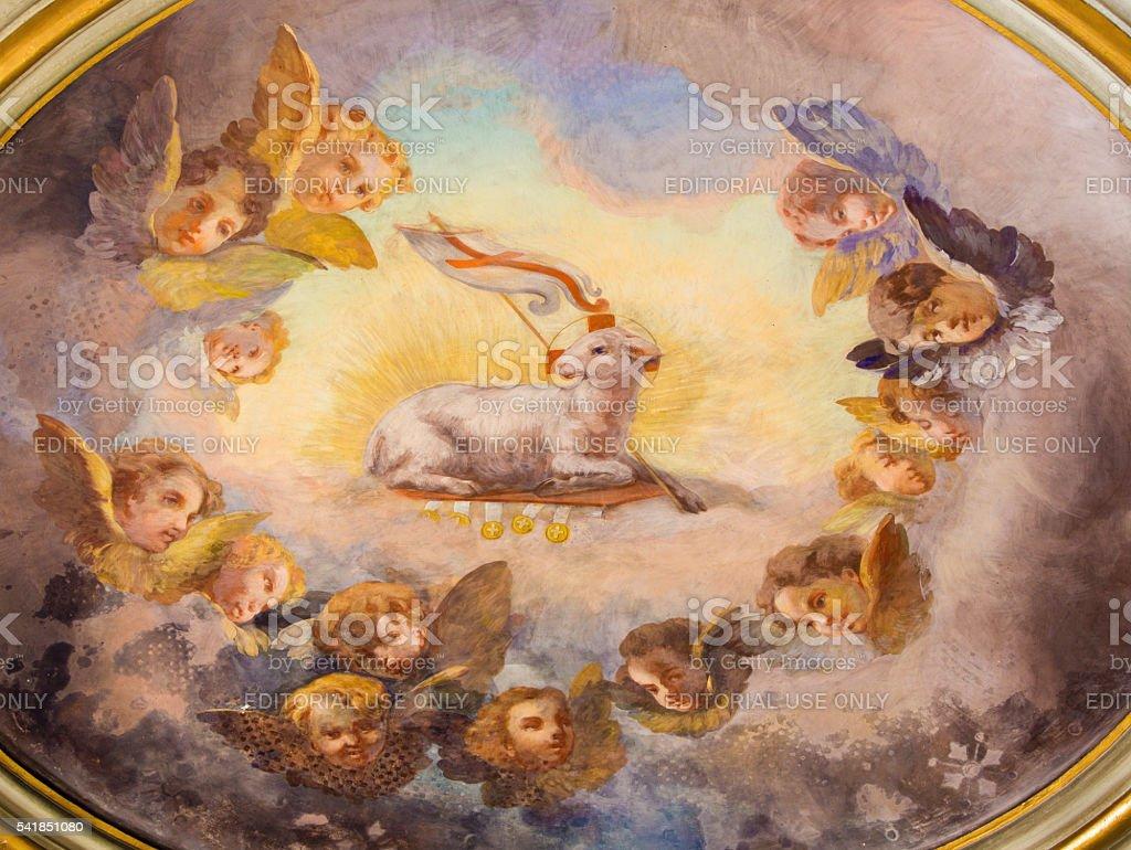 Rome - The Lamb of God fresco stock photo