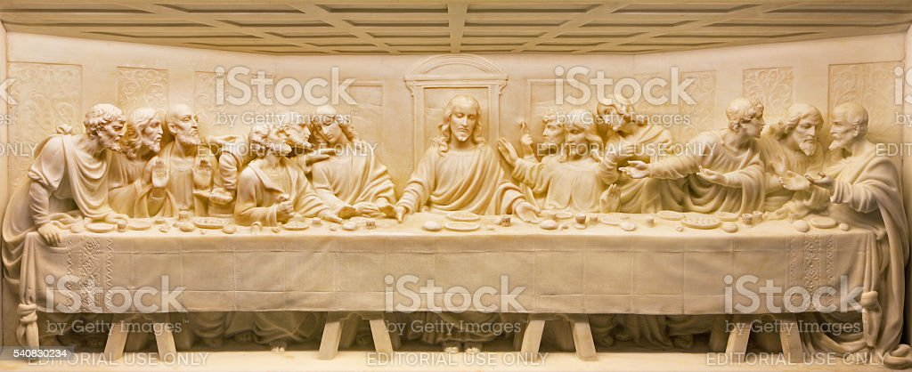 Rome - The Last Supper marble relief stock photo