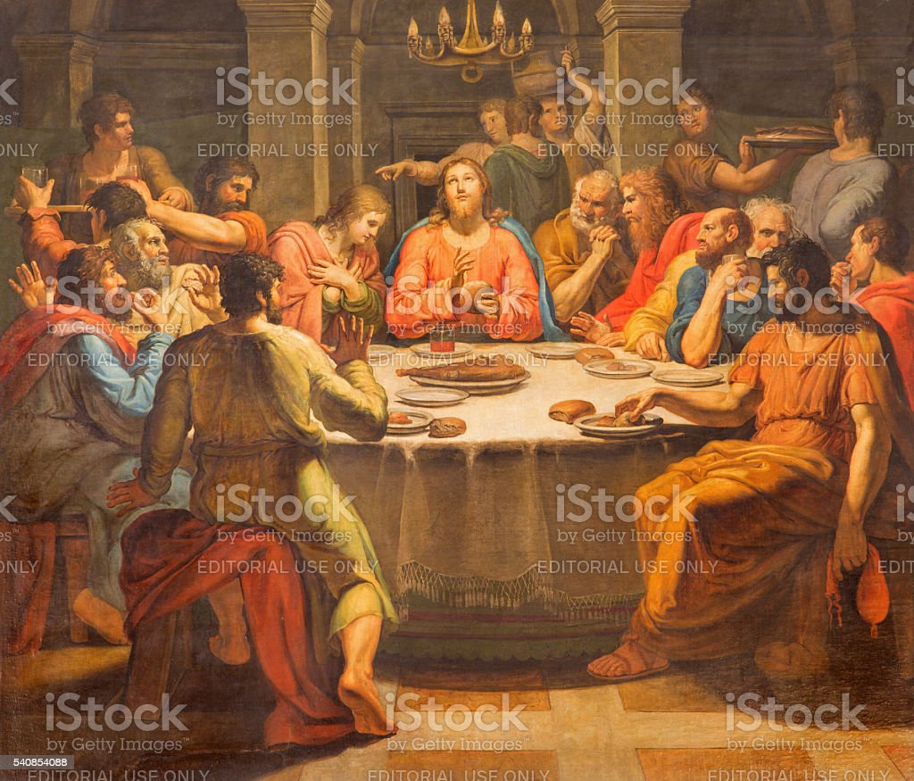 Rome - The Last supper paint stock photo