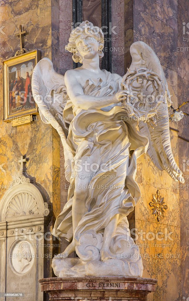 Rome - The marble statue of Angel by Bernini stock photo