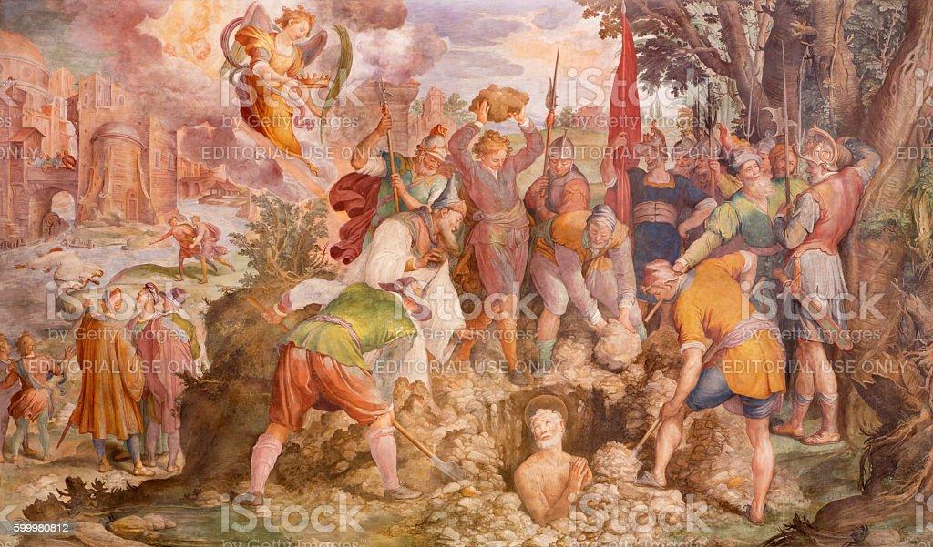 Rome - The Martyrium of St. Vitalis fresco stock photo