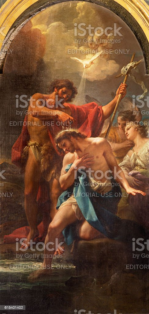 Rome - The paintin Baptism of Christ stock photo