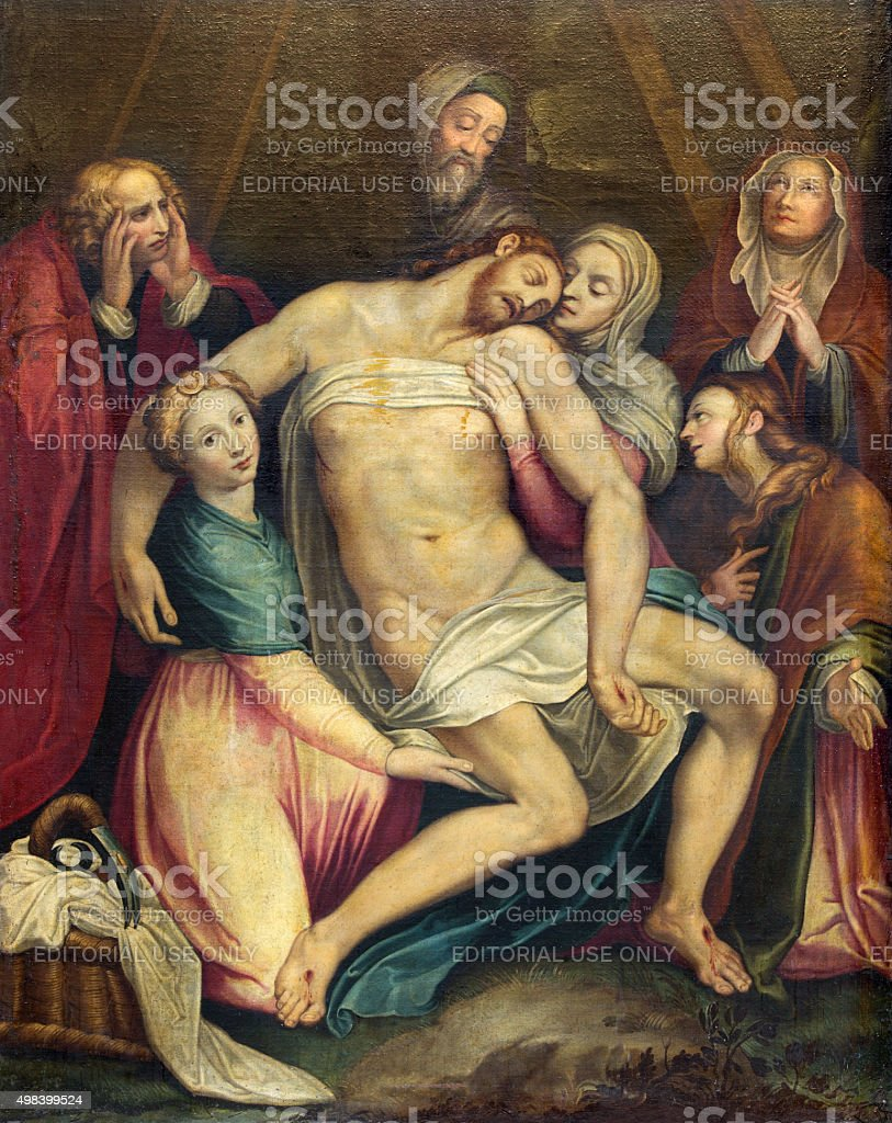 Rome - The painting of Deposition of the cross stock photo