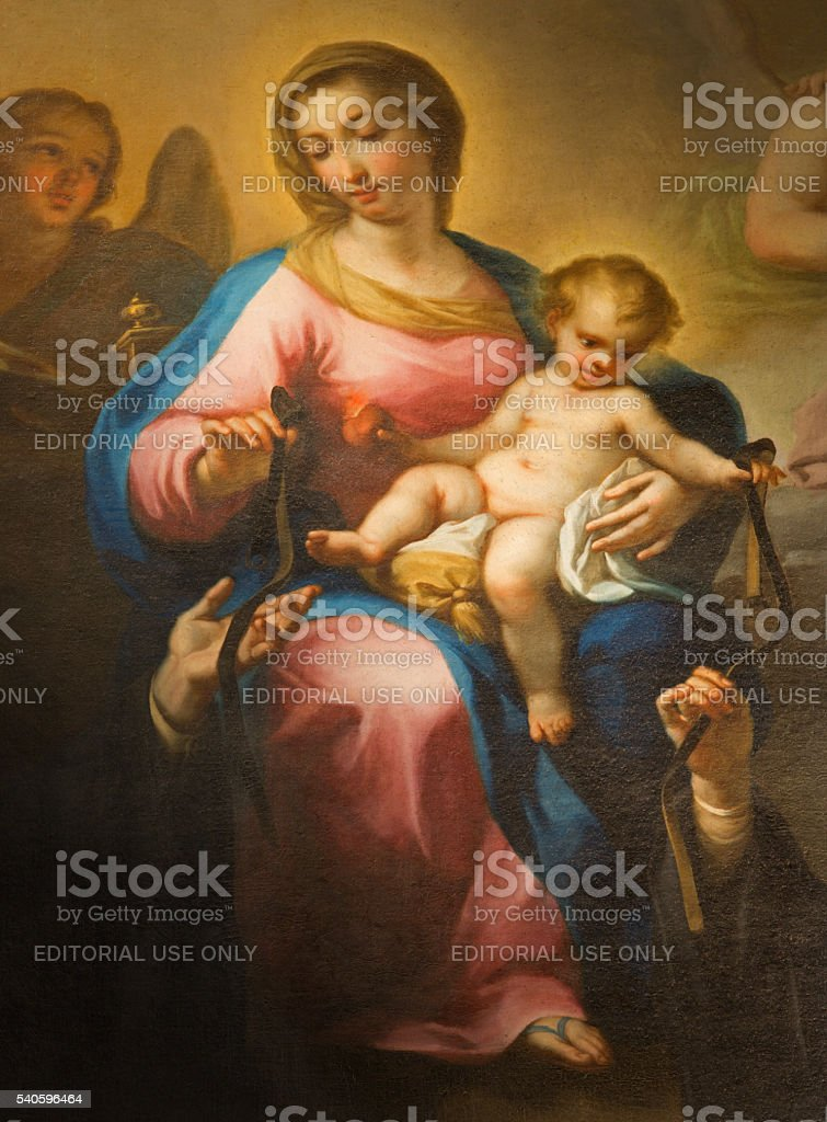 Rome - The painting of  Madonna della Rosa stock photo