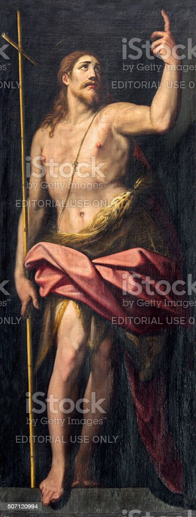 Rome - The painting of st. John the Baptist stock photo