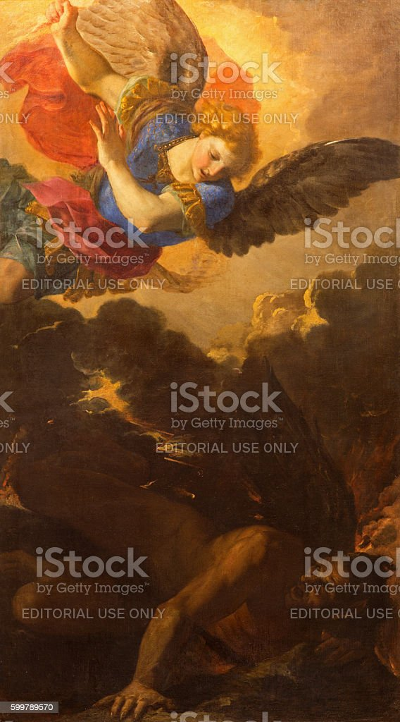 Rome - The painting of St. Michale archangel stock photo
